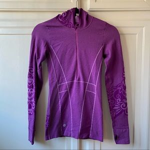 Athleta Half Zip Pullover Hooded Floral Shirt Sm